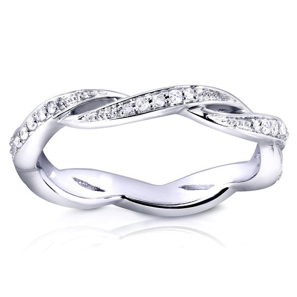 Annello by Kobelli 10k White Gold 1/8ct TDW Braided Twist Round Diamond Eternity Band
