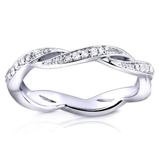 Annello by Kobelli 10k White Gold 1/6ct TDW Round Diamond Twist Eternity Band
