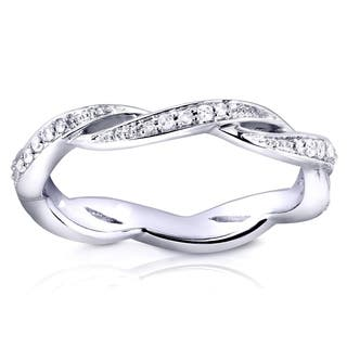 annello by kobelli 10k white gold 18ct tdw braided twist round diamond eternity band - Wedding Ring Bands