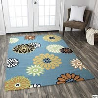 Rizzy Home Azzura Hill Collection Multi-Colored Leaf Accent Rug - 2' x 3'