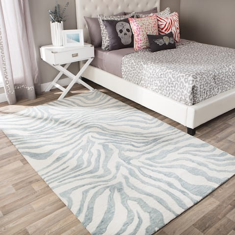 Andrew Charles Snow Leopard Collection Zebra Dark Grey Area Rug (8' x 10') - 8' x 10'