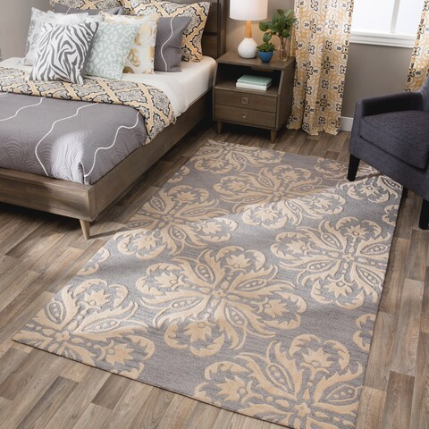 Andrew Charles Atlas Collection Gray Wool Area Rug (5' x 8') - 5' x 8'