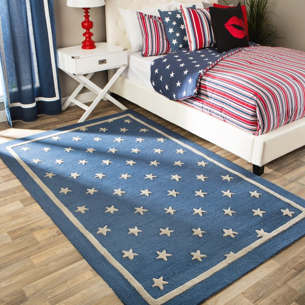 Andrew Charles All American Collection Navy/Light Grey Area Rug - 8' x 10'