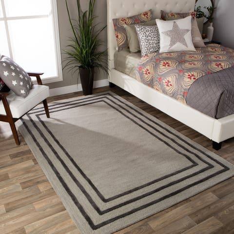 Andrew Charles Ogee Collection Border Light Grey Area Rug (8' x 10') - 8' x 10'