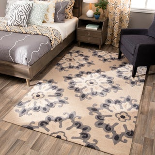 Andrew Charles Atlas Collection Timeless Beige Area Rug (5' x 8')