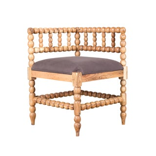 Putty Natural Wood and Linen Corner Chair
