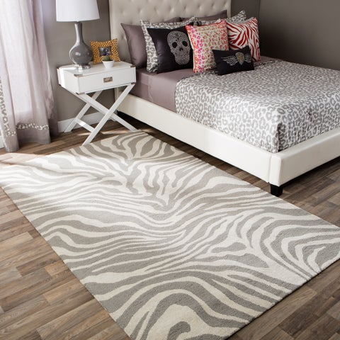 Andrew Charles Snow Leopard Collection Zebra Beige Area Rug (8' x 10') - 8' x 10'