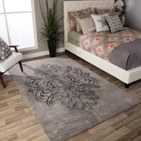 Andrew Charles Ogee Collection Grey Area Rug (8' x 10') - 8' x 10'