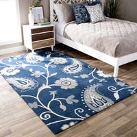 Andrew Charles Paisley Park Collection Navy Wool Area Rug - 5' x 8'