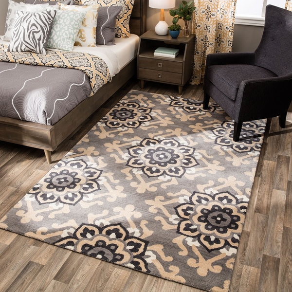 Andrew Charles Atlas Collection Medallion Gray Area Rug (8' x 10') - 8' x 10'