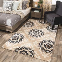 Andrew Charles Atlas Collection Medallion Beige Area Rug - 5' x 8'