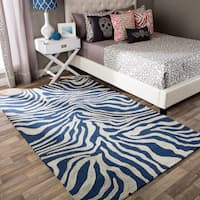 Andrew Charles Snow Leopard Collection Zebra Navy Area Rug - 8' x 10'