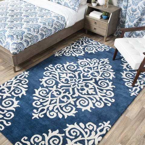 Andrew Charles Paisley Park Collection Exotic Navy Area Rug (8' x 10') - 8' x 10'