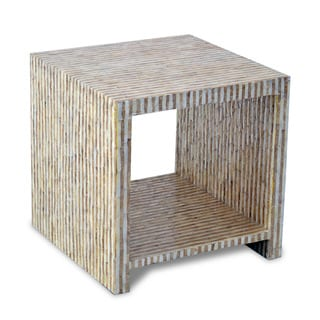 Crafted Home's Aiden Cube Side Table in Gold and White