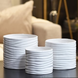 Gloss Finish White Ceramic Low Cylinder Pot with Ribbed Design Body (Set of 3)