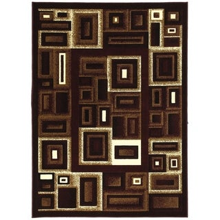 LYKE Home Contemporary Burgundy Area Rug (8' x 10')