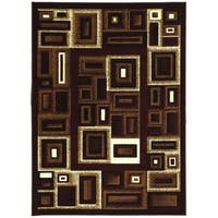 LYKE Home Contemporary Burgundy Area Rug