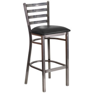 HERCULES Series Clear Coated Ladder Back Metal Restaurant Barstool - Vinyl Seat