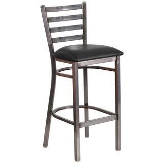 Porch & Den Stonehurst Maddux Metal/ Vinyl Ladder Back Bar Stool
