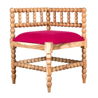 Fuchsia Natural Wood and Linen Corner Chair