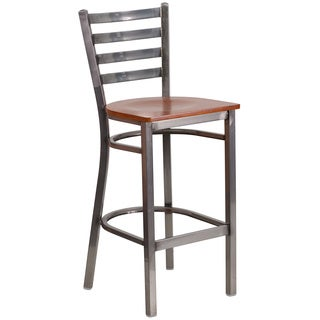 HERCULES Series Clear Coated Ladder Back Metal Restaurant Barstool - Wood Seat