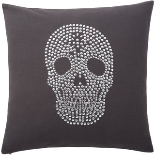 Andrew Charles Snow Leopard Studded Skull Print 20-inch Throw Pillow