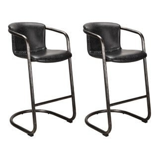 Aurelle Home Harley Rustic Industrial Leather Bar Stool (Set of 2)