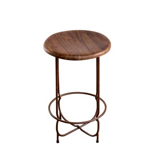 Thin Leg Teak Top Counter Stool
