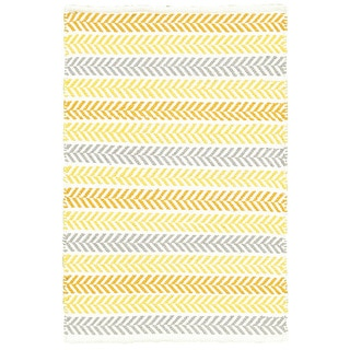 Altair Yellow Multi Rectangle Cotton Reversible Area Rug (5' x 7'9)