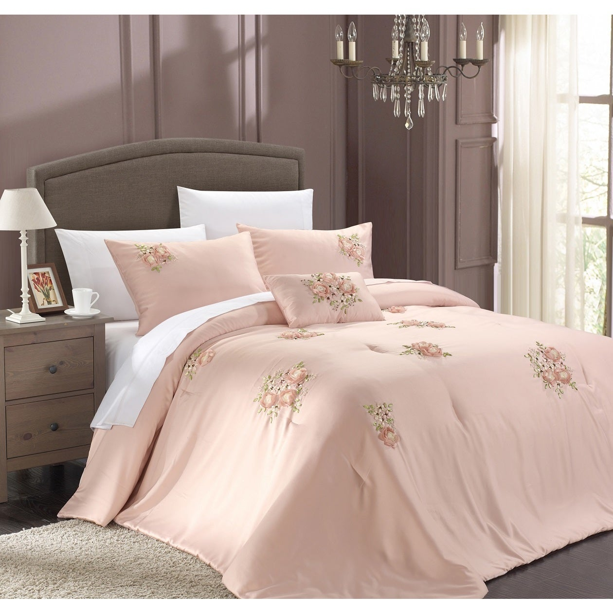Maison Rouge Lydia 5-piece Pink Comforter Set (Queen) (Mi...