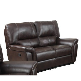 LYKE Home Gavin Leather Air Recliner Loveseat, Burgundy