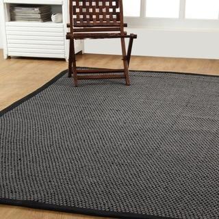 Hand-Woven Natural Fiber basket Weave Sisal Rug (5'x8')