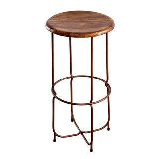 Thin Leg Teak Top Bar Stool