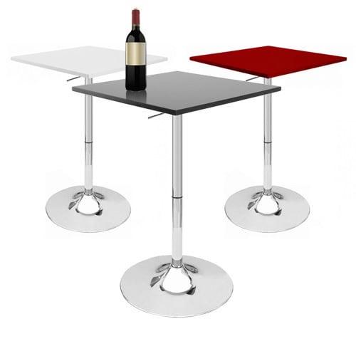 Zeta Contemporary Adjustable Bar Table Vanilla White