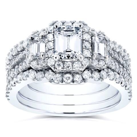 Annello by Kobelli 14k White Gold 1 3/4ct TDW Diamond Bridal Ring Set