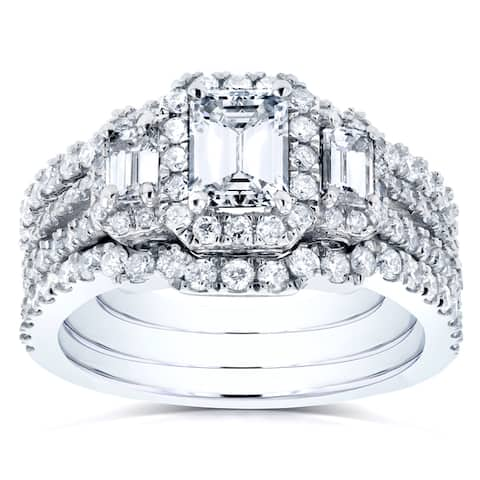 Annello by Kobelli 14k White Gold 1 3/4ct TDW Diamond Bridal Ring Set
