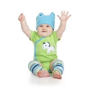 Zany Zebra Boys' Blue and Green 0-3 Months Gift Set