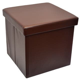 Faux Leather Folding Storage Ottoman Foot Rest Stool Seat