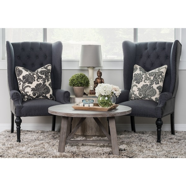 Etonnant Eleanor Grey And Black Upholstered Wingback Chair By Kosas Home