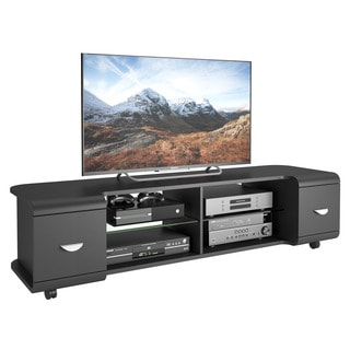 CorLiving Panorama Black TV Stand with Casters, for TVs up to 73""