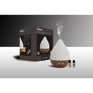 Pursonic AD260 Bamboo and Ceramic Aroma Diffuser with Ambient Lighting and 2 Aromatherapy Essential Oils