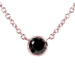 Annello by Kobelli 14k Rose Gold 1/4ct Black Diamond Solitaire Bezel Pendant