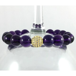 Rebecca Cherry Terra Charmed Amethyst Bracelet with CZ Bead