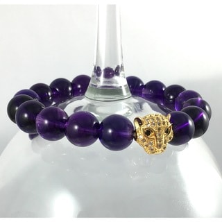 Terra Charmed Amethyst Beaded Bracelet with CZ Panther Bead