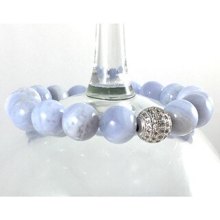 Terra Charmed Blue Lace Agate Beaded Bracelet with a CZ Bead