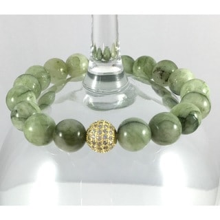 Terra Charmed Green Agate Bead Bracelet with CZ Bead