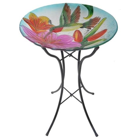 Peaktop - Outdoor 18 Inch Hummingbird Fusion Glass Bird Bath