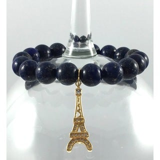 Terra Charmed Lapis Bead Bracelet with CZ Eiffel Tower Charm