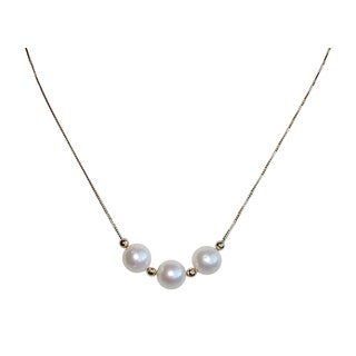 14k Yellow Gold South Sea Triple Pearl Necklace