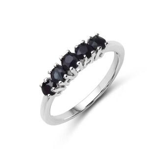 Malaika Sterling Silver 5/8ct TGW Black Sapphire Ring